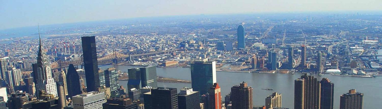 New York City skyline overlooking Hudson River