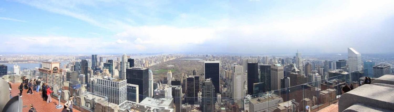 Birdseye view of New York City skyline from rooftop