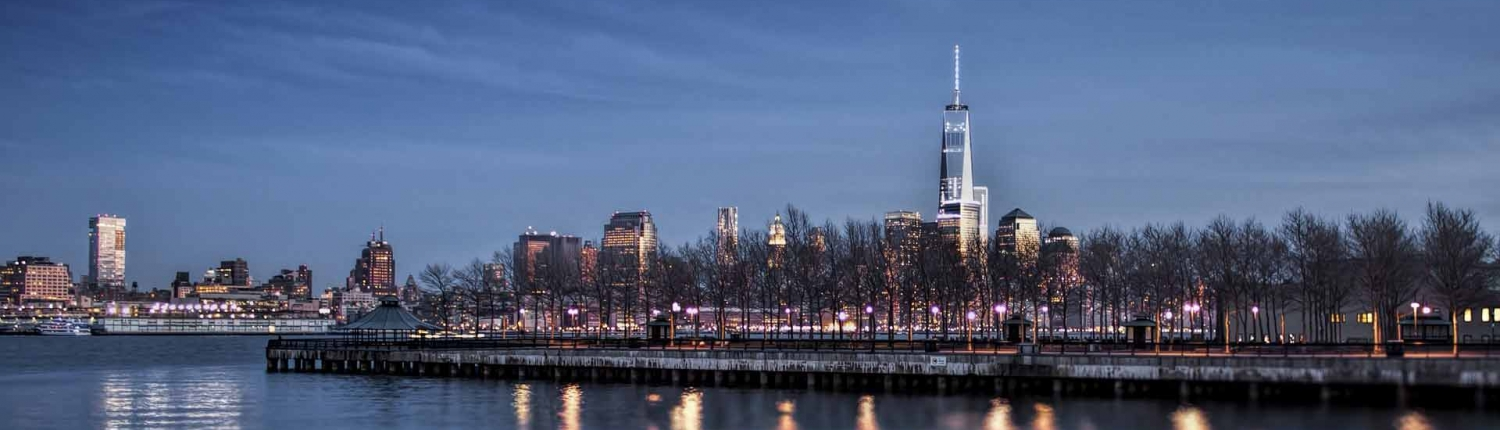 New York City at night on river with trees lining the shore