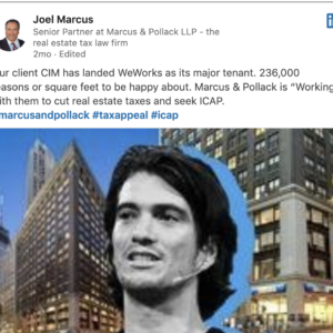 screen shot of Real Deal article on Linked In with collage of mans head and buildings