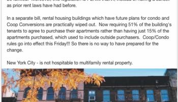 THE NEW RENT REGULATION LEGISLATION will devastate Landlords. LinkedIn screenshot