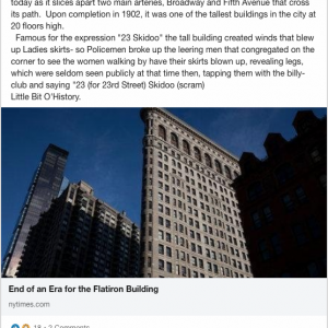 The Flatiron Building was one of the first skyscrapers in New York City. LinkedIn screen shot