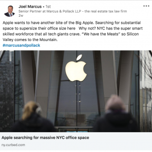 Apple wants to have another bite of the Big Apple Screenshot of LinkedIn Post