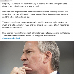 Property Tax Reform for New York City, is like the Weather...everyone talks about it but nobody does anything about it. Screenshot for LinkedIn Post