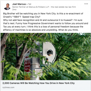 Big Brother will be watching you in New York City. Screenshot for LInkedIn