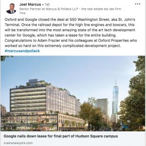 Oxford and Google closed the deal at 550 Washington Street, aka St. John's Terminal.